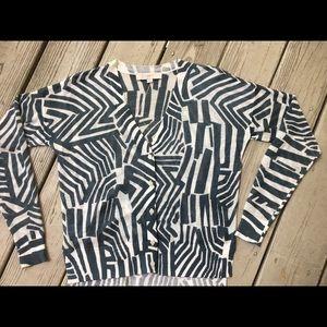 Rayon geometric teal and white cardigan—LOFT